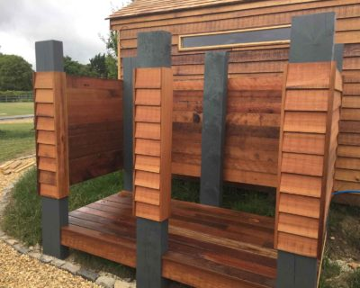 outdoor shower - built with timber